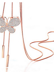 Exquisite Crystal Butterfly Pendant Necklace Jewelry for Lady