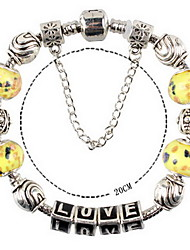 Yellow Fine Styly Beads Strand Bracelet with Beautiful Pendant Charm Bracelet