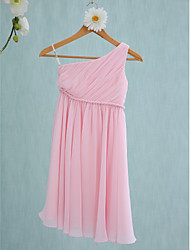 Lanting Bride® Tea-length Chiffon Junior Bridesmaid Dress Sheath / Column One Shoulder with Sash / Ribbon / Side Draping