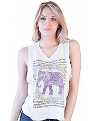Women's Print Cute Street chic Cute Tanks,Round Neck Sleeveless
