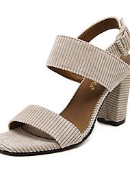 Damen-High Heels-Lässig-Stoff-BlockabsatzSchwarz Mandelfarben