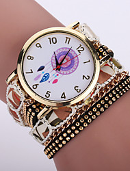 Women's Bohemian Style Fabric Band White Dreamcatcher Case Analog Quartz Layered Bracelet Fashion Watch