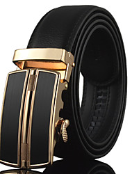Men Black Business Automatic Buckle Leather Wide Belt,Work / Casual