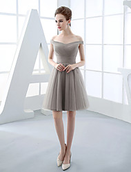 Short/Mini Tulle Bridesmaid Dress-Silver Ball Gown Off-the-shoulder
