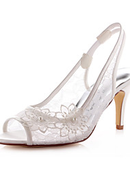 Women's Sandals Spring / Summer Heels / Peep Toe Stretch Satin Wedding / Dress / Party & Evening Stiletto Heel Flower Ivory