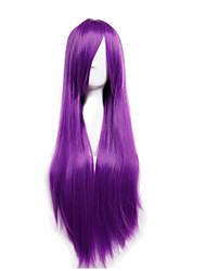 Cheap Price high temperature Purple Color Synthetic cosplay wig 80cm Young Long straight wigs
