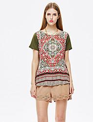 les femmes heartsoul de sortir vintage / t-shirt d'été simple, imprimer col rond manches courtes en polyester mince