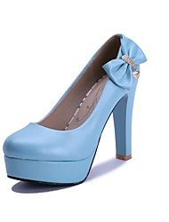 Women's Shoes PU Summer / Fall Heels / Round Toe Office & Career / Casual Chunky Heel Bowknot / Sparkling Glitter Blue / Pink / White