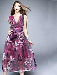 BOMOVO® Women's V Neck Sleeveless Tea-length Dress-B16XQ2B