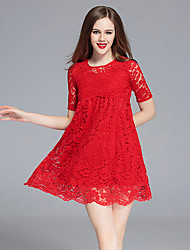 Women's Casual/Daily / Plus Size Sexy / Cute Swing Dress,Solid Round Neck Above Knee ¾ Sleeve Red Polyester Summer