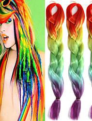 "Orange Yellow Olivine Rose Ombre Crochet 24"" Yaki Kanekalon Fiber 100g 4 Tone Jumbo Braids Synthetic Hair with Free Hook"