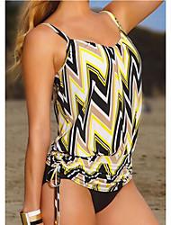 Women's Halter Tankini,Sport / Geometric Polyester Yellow