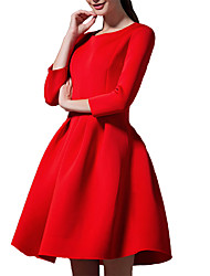 Women's Party Simple / Cute Skater Dress,Solid Round Neck Mini ¾ Sleeve Red / Black Polyester / Others Spring / Fall Mid Rise