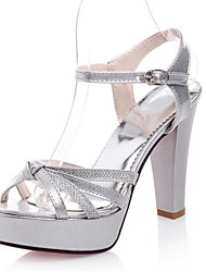 Women's Shoes Patent Leather / Glitter Chunky Heel Heels / Platform / Open Toe Sandals Office & Career / Dress /  Silver