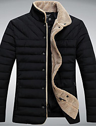 Men's Long Padded Coat,Cotton / Polyester Solid Long Sleeve