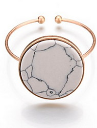 Alloy Natural Stone Gem Adjustable Cuff Bangle Bracelet