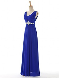 Sheath / Column Mother of the Bride Dress Floor-length Chiffon with Crystal Detailing