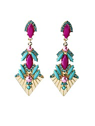 European Luxury Gem Geometric Earrrings Vintage Multicolor Rococo Drop Earrings for Women Fashion Jewelry Best Gift