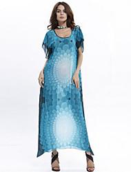 En couleur Femme Col en V Manches 1/2 Maxi Robes-522687982463
