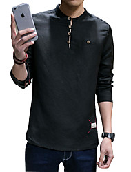 The new spring cotton long sleeved T-shirt male Japanese retro linen t-shirt men's youth tide