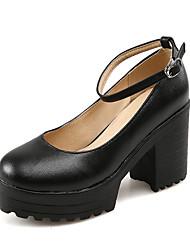 Черный / Белый-Женская обувь-Для праздника-Дерматин-На толстом каблуке-На каблуках / С круглым носком-Обувь на каблуках
