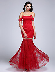 TS Couture Formal Evening Dress - Sexy Trumpet / Mermaid Jewel Floor-length Lace Satin with Lace