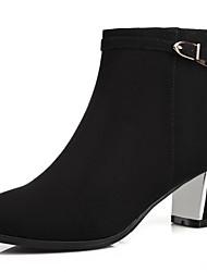 Damen-High Heels Stiefel-Büro Kleid Party & Festivität-Kunstleder-BlockabsatzSchwarz