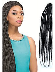 Black Senegal Crochet Twist Small Box Braid 24 inch Kanekalon 3 Strand 80g Synthetic Hair Braids with Free Crochet Hook
