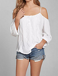 Women's Casual/Daily Sexy / Simple Summer Loose Off-The-Shoulder T-shirt,Solid Strap Long Sleeve White