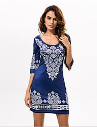 En couleur Femme Col Arrondi Manches 1/2 Genou Robes-533326684662