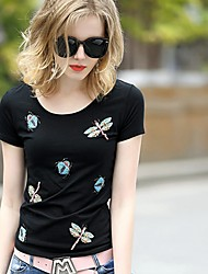 Women's Casual/Daily Simple / Cute Summer T-shirt,Print Round Neck Short Sleeve Black Cotton Thin