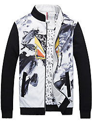 Men's Long Sleeve Casual / Work / Formal / Sport Jacket,Cotton / Polyester Camouflage Black / Red / Gray