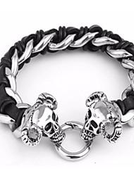kalen®punk e estilo de rock 316l crânio de aço inoxidável jóias dos homens dirige pulseiras