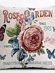 Linen Pillow Cover/Case ,  Woven Traditional/Classic Rose Garden  Feature
