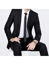 Anzüge Schlanke Passform Fallendes Revers Einreiher - 2 Knöpfe Polyester Einfarbig 2-teilig Schwarz Gerade Keine (flache Front) Schwarz