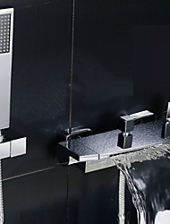 Contemporary Tub And Shower Waterfall Widespread with  Ceramic Valve Chrome Shower Faucet  Bathtub Faucet