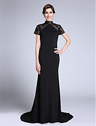Lanting Bride® Trumpet / Mermaid Mother of the Bride Dress Sweep / Brush Train Short Sleeve Lace / Jersey with Lace