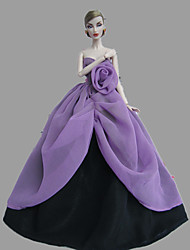 Party/Evening Dresses For Barbie Doll Purple / Black Dresses For Girl's Doll Toy