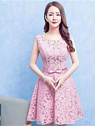 Knee-length Lace / Satin Bridesmaid Dress A-line Jewel with Lace / Sash / Ribbon