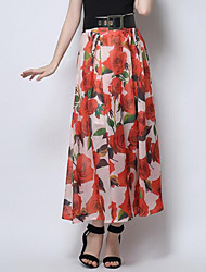 Women's Floral Red / Yellow Skirts,Street chic Midi