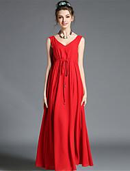 Women's Vintage Fashion Sexy Backless Sleeveless V Neck Plus Size Swing Long Dress Evening Dress