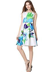 Women's Work Simple A Line / Sheath Dress,Geometric Round Neck Knee-length Sleeveless White Polyester All Seasons