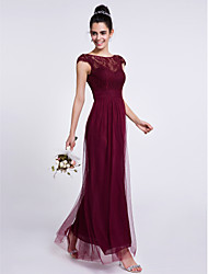 2017 Ankle-length Lace / Tulle Bridesmaid Dress Sheath / Column Bateau with Lace