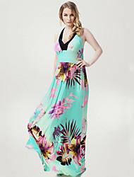 Women's Beach / Plus Size Boho Swing Dress,Floral Asymmetrical Maxi Sleeveless Green Polyester / Spandex Summer