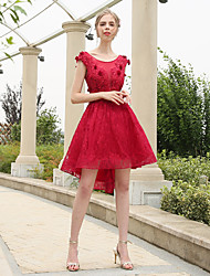 Asymmetrical Lace / Polyester Bridesmaid Dress A-line Scoop with Flower(s) / Lace