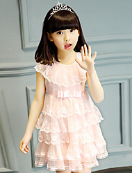 A-line Short / Mini Flower Girl Dress - Cotton / Lace / Tulle Sleeveless Jewel with Bow(s) / Embroidery