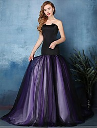 Formal Evening Dress - Color Block Fit & Flare Notched Sweep / Brush Train Tulle with Pleats