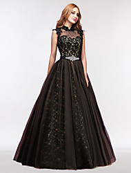 Ball Gown Illusion Neckline Floor Length Tulle Prom Formal Evening Dress with Crystal Detailing Lace Pearl Detailing by MMHY