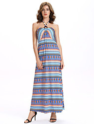 Women's Club Sexy A Line / Loose Dress,Striped Halter Maxi Sleeveless Blue Cotton / Polyester Summer