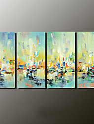 Hand-Painted Abstract Landscape Modern,Four Panels Canvas Oil Painting